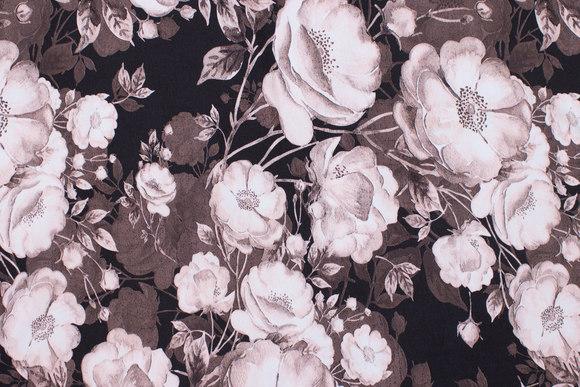 Sort bomuldsjersey med roser i rosa og koksgrå