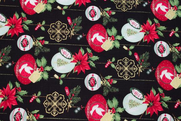 Sort patchwork-bomuld med julekugler