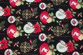 Sort patchwork-bomuld med julekugler.