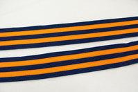 Strikke stribet bånd marine/orange 3,5cm