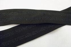 Elastik sort med sorte striber 4cm bred