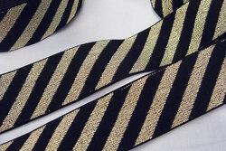 Elastik sort med diagonale guld striber 4cm bred