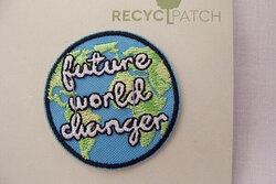 Recycled strygemærke: future-world-changer  Ø 4 cm