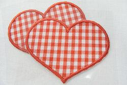 2stk køkkenternede hjerte strygemærker 7,5 x 6 cm