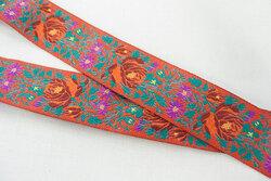 Blomstret bånd orange, grøn og fuchsia 2,4 cm