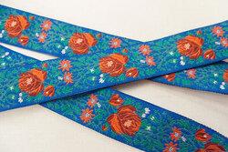 Blomstret bånd blå/rød/grøn 2,4cm