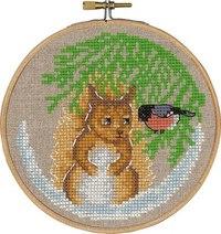 Broderkit med egern og dompap