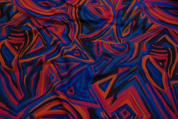 Retrobomuld med mønster i blå og orange