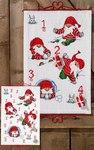 Christmas calendar, Santas playing.