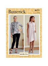 Bluse/skjorte og Kjole. Butterick 6771.