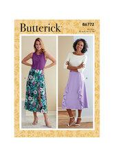 Nederdel med pynte-flæser. Butterick 6772.