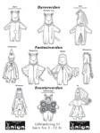 Universalmønster til udklædning. Utallige muligheder med små ændringer af ører, hætte, farver og materialer. Bjørn, kat, mus, hest, troldmand, ridder, flagermus, fe, prinsesse, sommerfugl.