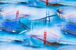 Blåturkis bomuldsjersey med flotte broer
