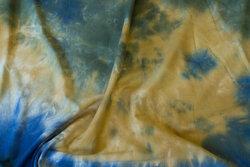 Bomuldsjersey i batik messing og blå og oliven