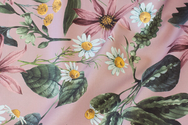 Gammelrosa bomuldscanvas med store blomster
