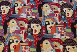 Gobelin med ansigter i Picasso-stil