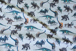 Grå bomuldsjersey med 2-4 cm dinosaurer