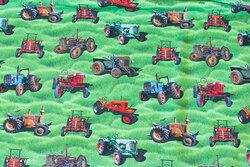Græsgrøn bomuldsjersey med ca. 5 cm traktorer