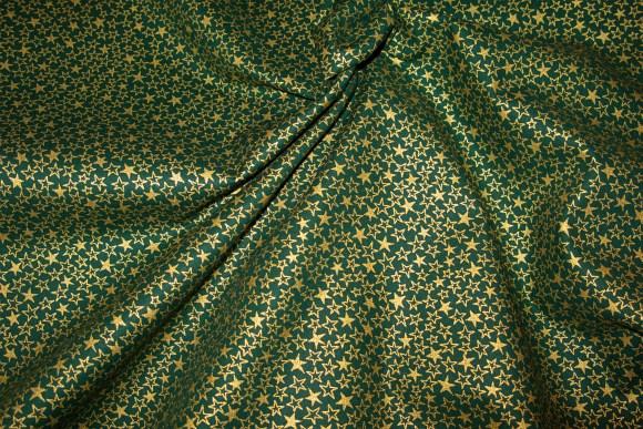 Grøn patchworkbomuld med guld-stjernemønster