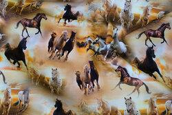 Gylden bomuldsjersey med heste