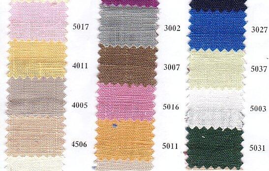 Hør til sommertøj i bla. pink, gul, grå, brun, blå m.m.