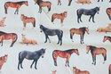 Lys bomuldscanvas med heste