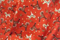 Rød bomuld med små 5 cm Dalar heste