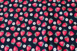 Sort bomuldsjersey med ca. 2-3 cm jordbær