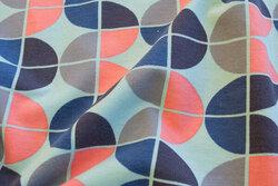 Bomuldsjersey retro mint, blå og coral