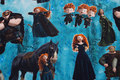 Turkisblå bomuldsjersey med prinsesse med bue og pil