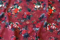 Vinrød julejersey med julemænd og roser