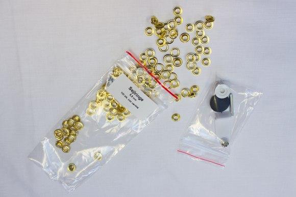 100 stk. sejlringe, guldfv. 5,5 mm, inkl.værktøj