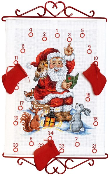 Hvid pakkekalender med julemanden der læser højt