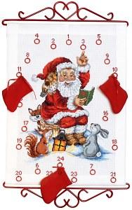 Hvid pakkekalender med julemanden der læser højt. Permin 34-2525.