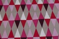 Bomuld med domino-mønster i rød, rosa, sand