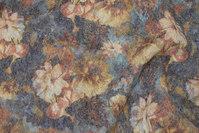 Grå uldfleece med gyldne blomster