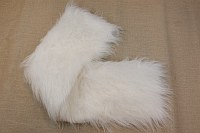 Langhåret hvid pels i lækker imiteret kvalitet i 20 cm stykke