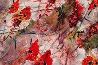 Let bluse og kjole micro-polyester stretch med røde valmuer