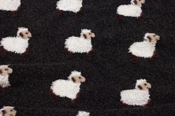 Mørk gråbrun bouclé-fleece med filtede får