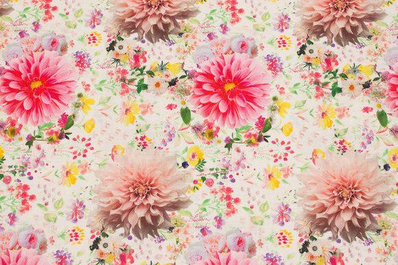 Off white patchwork bomuld med pink blomster