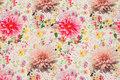 Off white patchwork bomuld med pink blomster.