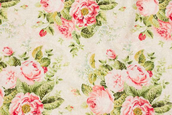 Off white patchwork bomuld med rosenbuketter