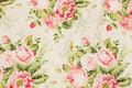 Off white patchwork bomuld med rosenbuketter.