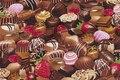 Patchwork-bomuld med fyldt chokolade.