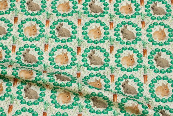 Patchwork bomuld med kaniner og kål