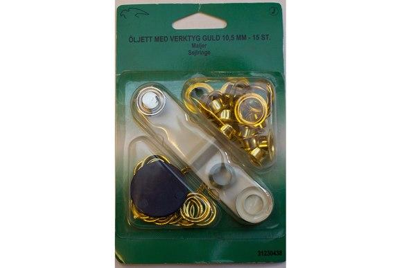 Sejlringe guldfarvede 10,5 mm 15 stk. incl.værktøj