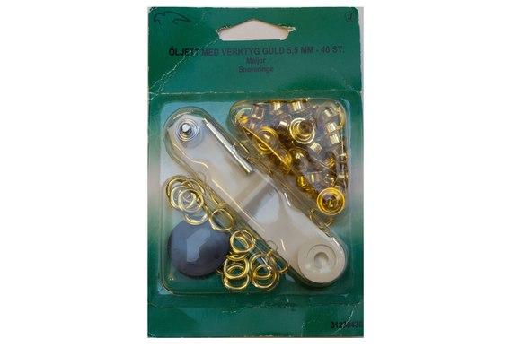 Sejlringe guldfv. 5.5 mm, 40 stk. incl værktøj.