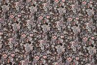 Sort bomuld med grå og rosa blomster