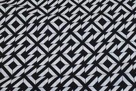 Sort og hvid bomuld med grafisk mønster, 3 cm tern