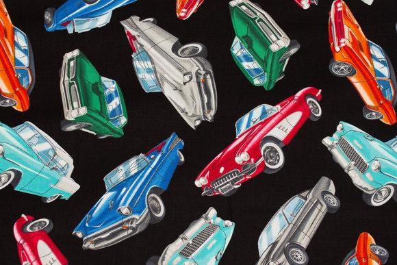 Sort patchwork bomuld med veteran-sportsvogne